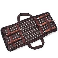 JasCherry Pinchos del BBQ del acero inoxidable 5 piezas - Parrilla de brocheta de barbacoa profesional herramienta - 42CM de Largo