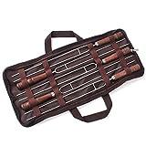 JasCherry 5 Pezzi in Acciaio INOX Barbecue Spiedini Forchetta Set Kit - Durevole e Sicuro BBQ Accessori - Lunghezza 40cm
