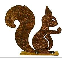 Edelrost Eichhörnchen mit Nuß in der Hand auf Platte, Höhe 20 cm