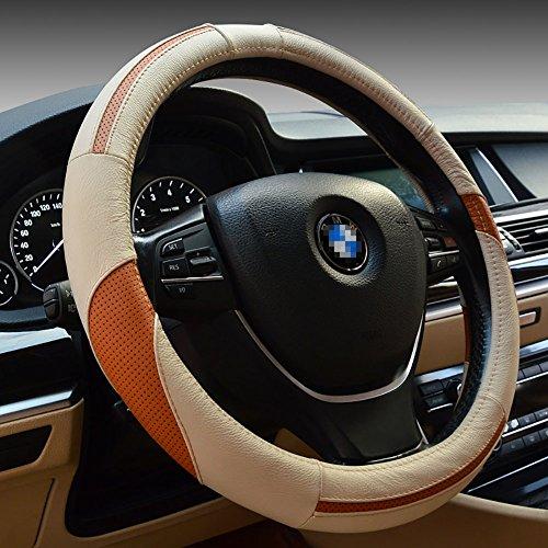 YAJAN Auto Lenkrad Abdeckung Leder Vier Jahreszeiten Universal Lederbezug Weiche Bequeme Dekoration Produkte,Beige