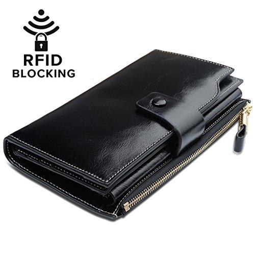 Yaluxe Femme Portefeuille Blocage RFID Grande Capacité Luxueux Cuir Véritable en Veau Ciré Noir