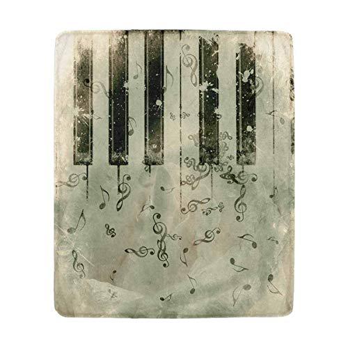 Mesllings Vintage Grunge Rose und Musik Noten, super weich, kuschelig, Mikrofaser, Überwurf, für alle Jahreszeiten, 127 x 152 cm Vintage-olive Wood