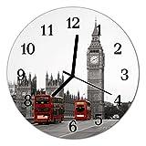Glasuhr von DekoGlas 30cm runde Bilderuhr aus Acrylglas mit lautlosem Quarzuhrwerk Glaswanduhr Dekouhr Uhr Wanduhren aus PMMA Küchenuhr Glasbilder Wanddekoration London rot