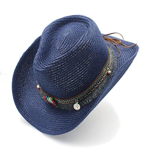 Sombrero de paja hecho a mano Sombrero de vaquero occidental para caballero  Sombrero de paja vaquero 4a76139b7dd