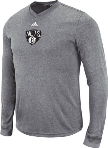 Pre Game T-shirt (Brooklyn Nets Adidas 2013 NBA Pre-Game Climalite Long Sleeve Shirt)