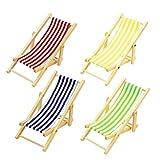 mxdmai Miniatur Stuhl für Puppenhaus Faltbare Holzliegestuhl Spielzeug mit Streifen Puppenhaus Gartenmöbel Zubehör (zufällige Farbe)
