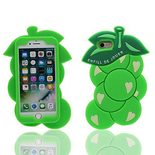 iPhone 7 Plus Coque Fruit Grain de raisin Forme Doux Silicone Plastique Housse de Protection Case pour Apple iPhone 7 Plus 5.5 inch vert