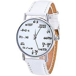 Sunnywill Frauen Mädchen Damen Schöne Mode Band Analog Quarz Vogue Muster PU Leder Weiß Uhren für Weibliche Studenten