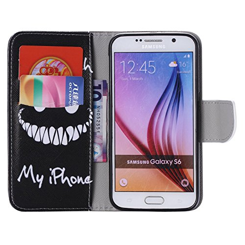 Ooboom® Samsung Galaxy S6 Coque PU Cuir Flip Housse Étui Cover Case Wallet Portefeuille Fonction Support avec Porte-cartes pour Samsung Galaxy S6 - Don't Touch My iPhone Don't Touch My iPhone