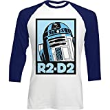 Star Wars Official Mens Raglan Baseball ¾ Length Sleeve Printed T-shirt - R2-D2