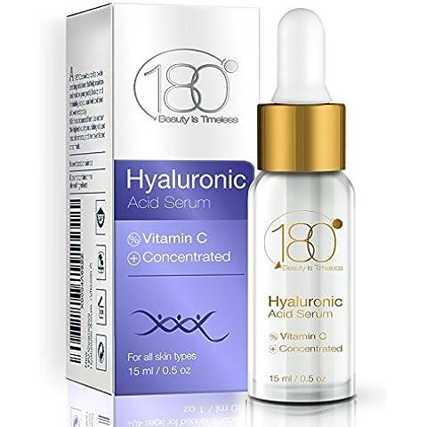 OFFERTE DI OGGI - 180 Cosmetics Hyaluronic Acid Serum - IL MIGLIOR siero di acido ialuronico + Vitamina C - la linea di prodotti per la pelle con la maggior concentrazione di acido ialuronico - pensata riempire le rughe e i segni d'espressione, idratare e levigare per una pelle più giovane. Anti-age - anti rughe - effetto lifting immediato - integratore - facelift - tonicità - pelle ringiovanita- lifting rughe - senza aghi - per il viso