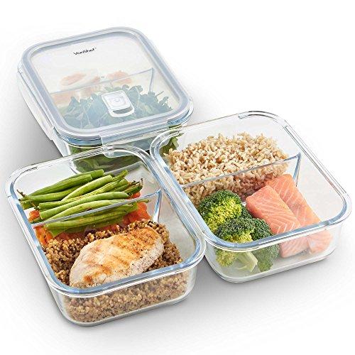 VonShef Set di 3 contenitori in vetro per alimenti con coperchi – 2 scomparti – Contenitori in vetro da cucina per conservare, Preparazione pietanze