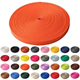 Schnoschi Gurtband Polypropylen 10 Meter lang - viele Verschiedene Breiten und Farben 10mm 15mm 20mm 25mm 30mm 40mm 50 mm (orange, 20 mm)