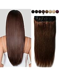 40CM(80g) Extension Cheveux Naturel a Clip Une Pièce Monobande Maxi Volume - 100% Remy Human Hair Extension Clip...