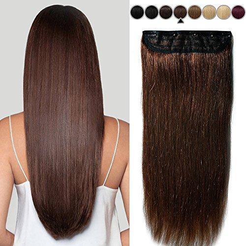 40CM(80g) Extension Cheveux Naturel a Clip Une Pièce Monobande Maxi Volume - 100% Remy Human Hair Extension Clip in - #04 Châtain