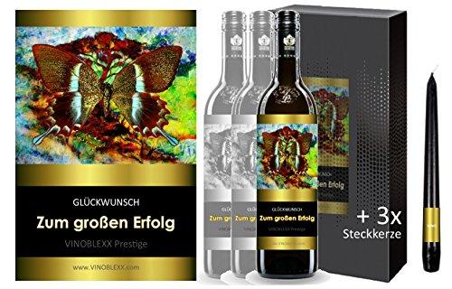 ZUM GROSSEN ERFOLG. 3er Geschenkset KLASSIK Rotwein. Ein Geschenk mit Stil & Prestige in Golddruck das jeden begeistert. Hochwertiger Qualitätswein. Verschiedene Etiketten-Designs, aktuell: Schmetterling