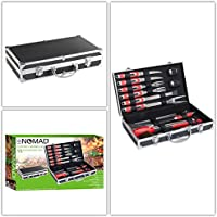 Set di posate da barbecue in acciaio inox 15pezzi con valigetta (griglia-Set di accessori, Pinza per barbecue, Grill, barbecue posate)