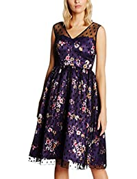 Lindy Bop Damen Kleid Aliza Purple Floral Black