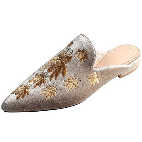 Jushee Frauen Damen Chic Velvet Backless Slip auf Loafers Flache Schuhe Stickerei Schwarz Blumen Handmade Mule Pantoffeln 38 NDicEZe5