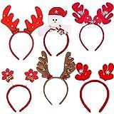 Dusenly Cappelli di Babbo Natale (Confezione da 6) Assortiti Fasce di Natale Divertenti Fascia per Capelli Fasce di Costume di Renna di Natale per Forniture per Feste di Natale