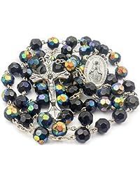 98b4c2d95713 Nazareth Store Católica único Negro Azul Unisex Rosario Collar de Cuentas  de Cristal Medalla Milagrosa y