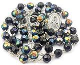 Nazareth Store Católica único Negro Azul Unisex Rosario Collar de Cuentas de Cristal Medalla Milagrosa y Cruz