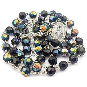 Nazareth Market Store Halskette, katholische Kristall-Perlen, Kruzifix, Dunkelblau
