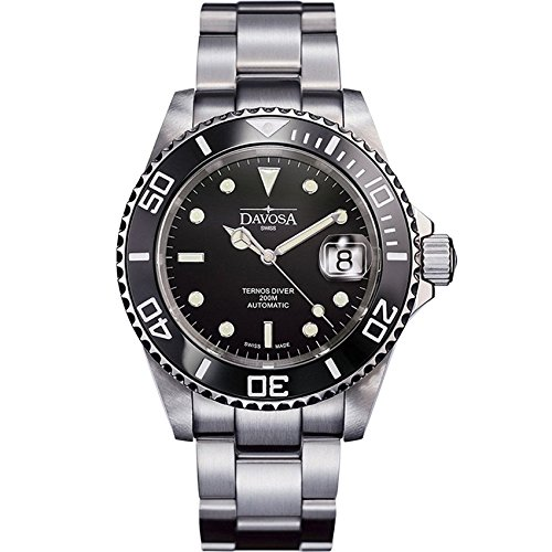 Davosa Swiss Ternos 16155550 Diver Analog Men Wrist Watch Steel Band Black Face