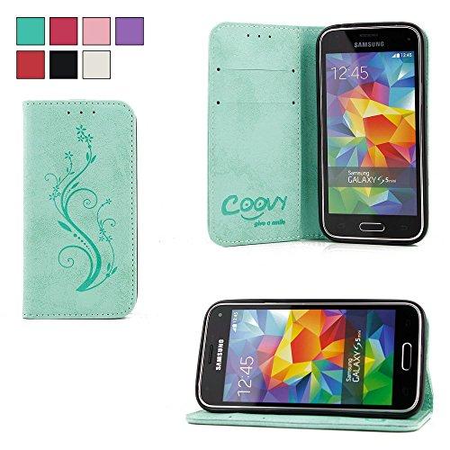 COOVY® Cover für Samsung Galaxy S5 Mini SM-G800 SM-G800H/DS DUOS Case Wallet Schutz Etui mit Kartenfach, Standfunktion + Schutzfolie - Design Blume | Farbe grün