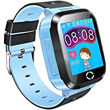 Niños Inteligente Relojes, GPS Kids SmartWatch con Camara, Flash luz, SOS, nocturna pantalla táctil, Reloj Inteligente Anti-Lost Smart tracker Pulsera Compatible para iPhone Android Smartphone