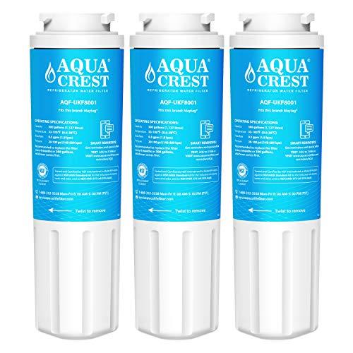 AQUACREST Kühlschrank Wasserfilter, kompatibel mit Maytag UKF8001, UKF8001AXX, UKF8001P, UKF9001, PuriClean II, Whirlpool 4396395, 469006, FILTER 4, Sears/Kenmore 9006, 46-9006 (3) (Filter Ukf8001 Kühlschrank Wasser)