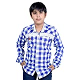 #5: AK13 Cotton Check Star Full Sleeves Blue and White Shirt for Boys