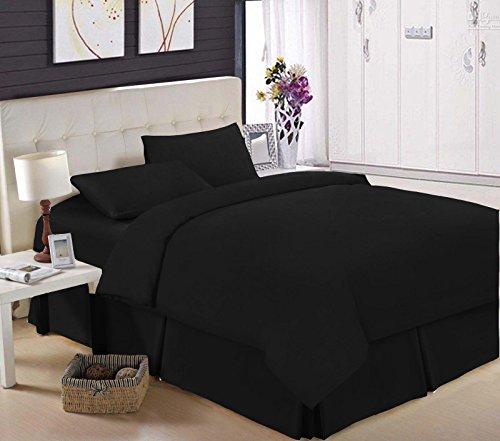 Frange de lit luxueuse plissée en rond - 100 % coton égyptien - Percale de 200 fils, Noir , Super king size