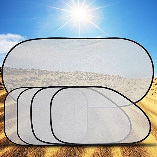 baffect 5 x Auto Fenster Sonnenschutz Baby Auto Fenster Shades 1 hinten + 4 Seite Auto Sonnenschirme Bezug mit 12 Extra Saugnäpfe bietet maximale 99% schädlichen UV-Ray Schutz Universal - Seite Shade Fenster Auto