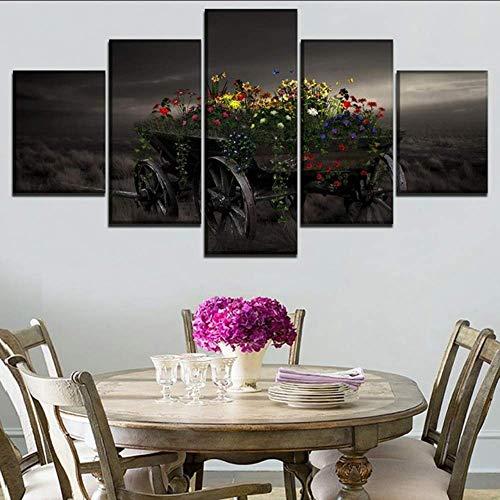 Hlfymx (nessuna cornice) stampa poster camera da letto home decor5 pezzi farfalla artistica campo colorato fiore vagone dipinto immagine di arte della parete