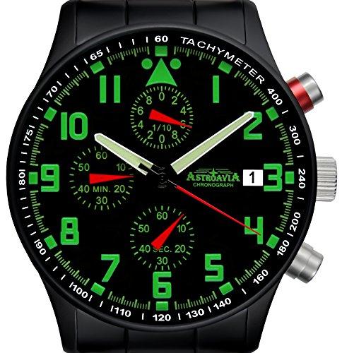 Astroavia Herren-Armbanduhr Chronograph Quarz Edelstahl N94BS