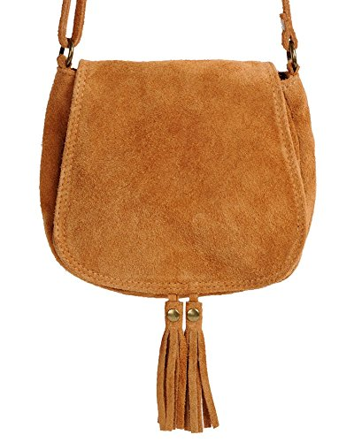 Piccola borsa borsa cammello marrone in pelle scamosciata a ImiLoa donne Custodia in pelle borsa in pelle
