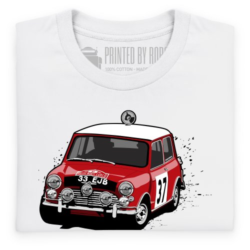 Classic British Red Rally Car T-shirt, Uomo Bianco