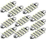 10X Demarkt Weiß 42mm 16 3528 SMD LED 12V Kennzeichenbeleuchtung Soffitte Lampe Licht