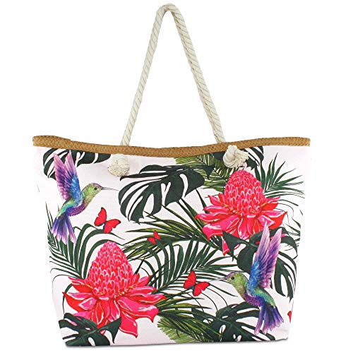 Pool Tasche (Hats Beach Bag Colorful Summer mit Kordel-Henkel Schulter-Strand-Pool-Schwimmbad-Shopping-Tasche Sommer-Urlaub-Flair Flamingo (Blume und Vogel))