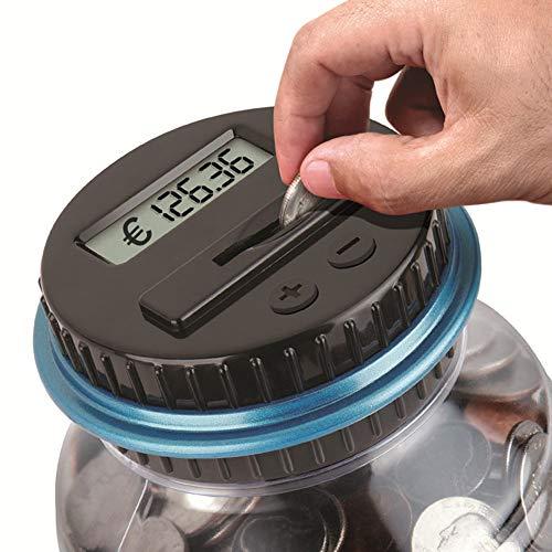 ZREAL Digital Piggy Bank Coin Sparzählung LCD Counting Money Jar Change Bottle (Coin Klar, Bank)