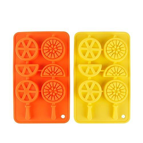 webake 2-Pack silicona frutas Candy hielo molde bandeja de hielo con palos,