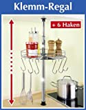 WENKO Teleskop-Rundregal - inl. 6 Haken - Küchenregal rund 30 cm - Klemmregal - Teleskop Regal für Küche - Ablage für Küchenhelfer
