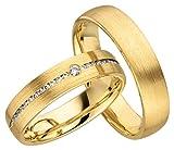 Verlobungsringe Eheringe Trauringe Partnerringe 2 Ringe Gold Plattiert JC022 *mit Gravur und Stein*