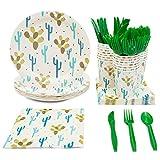 Juvale Monouso stoviglie Set - Serve 24 - Cactus Tema del Partito Confezione - comprende coltelli di plastica, cucchiai, forchette, Piatti di Carta, tovaglioli, Tazze