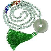 JOVIVI 108 Perlen Edelstein Mala Gebetskette Frieden Schnalle Anhänger Chakra Buddha Tibetische Armband Halskette preisvergleich bei billige-tabletten.eu
