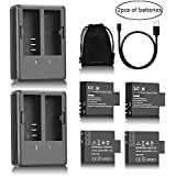SJCAM Camera Battery Charger With 2 USB Charger And 4 Replacement Battery Genuine Dual Slot Rechargeable Li-ion Battery Pack 900mAh For SJ4000, SJ5000, M10 SJCAM Action Camera