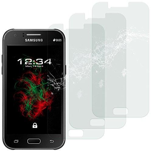 Baluum 3x Glasfolie für Samsung Galaxy J1 (2015) klare Bildschirmschutzfolie 9H Echt Glas-folie Clear Tempered Glass Screen protector Glas Durchsichtige Schutzfolie für J1 (2015) (Glasfolie-Klar 3x)