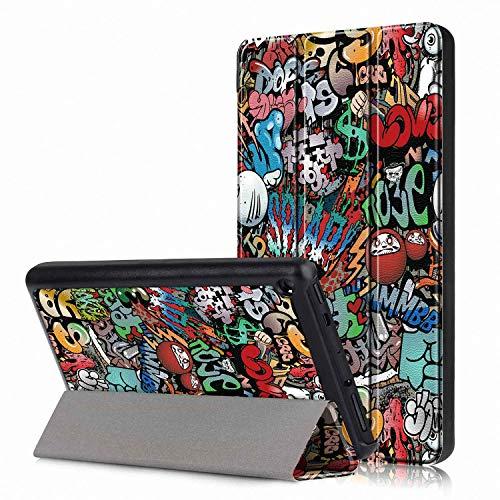 Femkeva 2019 Tablet-Hülle, ultradünn, Standfunktion, Smart Cover mit automatischer Aufwach- / Schlaffunktion für Amazon Kindle Fire 7 Tablet (9. Generation 2019) Graffiti