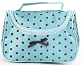 Aliado Blue Satin cosmetic/utility Bag/pouch with black net and polka dots